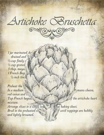 """Artichoke Bruschetta Recipe Collage Paper - Antiquated - 8"""" x 10 1/2"""""""