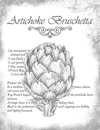 "Artichoke Bruschetta Recipe B&W Collage Paper - 8"" x 10 1/2"""