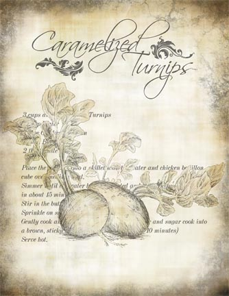 "Caramelized Turnips Recipe Collage Paper - Antiqued- 8"" x 10 1/2"""
