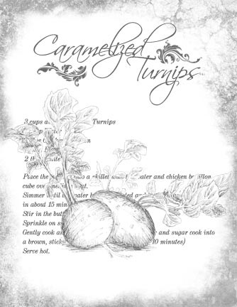 "Caramelized Turnips Recipe Collage Paper - B&W - 8"" x 10 1/2"""
