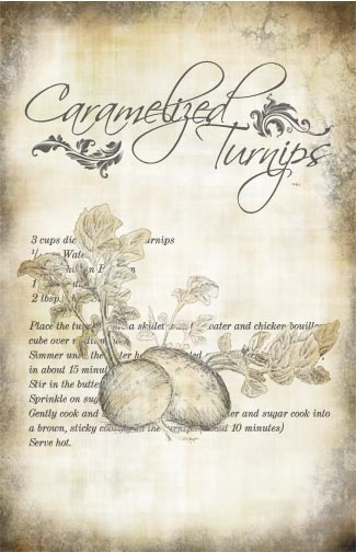 "Caramelized Turnips Recipe Collage Paper - Antiqued -  10 1/2"" x 16"""