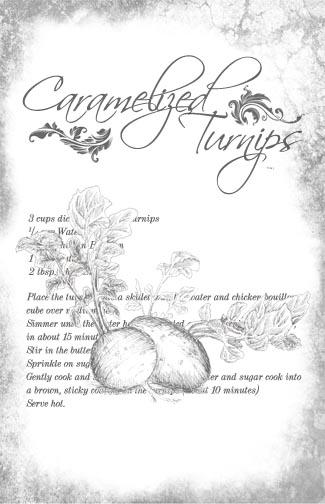 "Caramelized Turnips Recipe Collage Paper - B&W - 10 1/2"" x 16"""