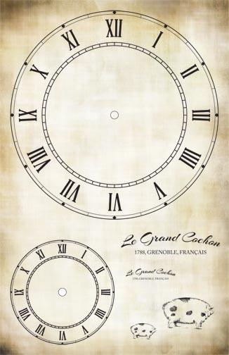 "Le Grande Cochon Clock Collage Paper - Antique - 11"" x 17"""