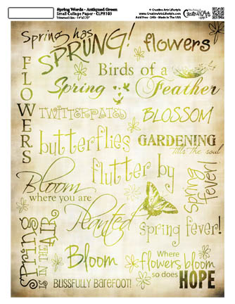 """Spring Words Collage Paper - Antiqued Green - 8"""" x 10 1/2"""""""