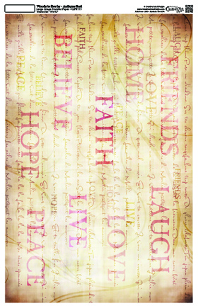 """Words  to Live By Collage Paper Antique Red - 10 1/2"""" x 16"""""""