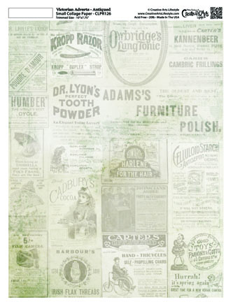 """Victorian Adverts Collage Paper - Antiqued  - 8"""" x 10 1/2"""
