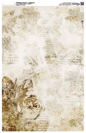 """Writing and Roses Collage Paper - Antiqued - 10 1/2"""" x 16"""""""