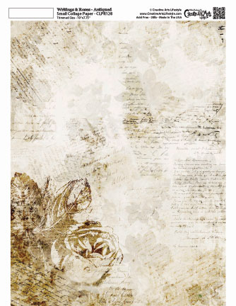 """Writing and Roses Collage Paper - Antique - 8"""" x 10 1/2"""""""