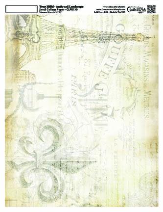 """La Eiffel Landscape Collage Paper - Antiqued - 8"""" x 10 1/2"""""""