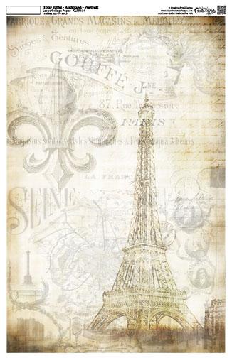 """La Eiffel Portrait Collage Paper - Antiqued -10 1/2"""" x 16"""""""