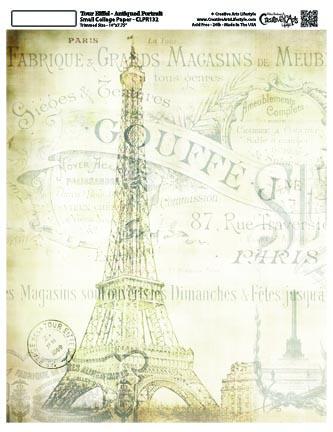 """La Eiffel Portrait Collage Paper - Antiqued -8"""" x 10 1/2"""