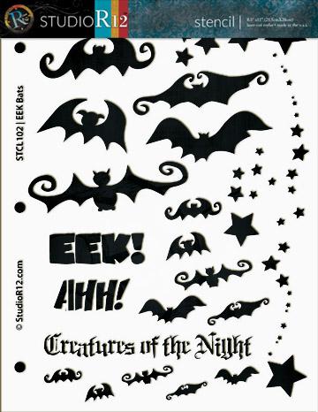 """EEK Bats! Stencil -  8 1/2"""" x 11"""""""