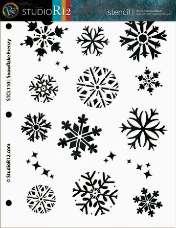 "Snowflake Frenzy Medium Stencil - 8 1/2"" x 11"""