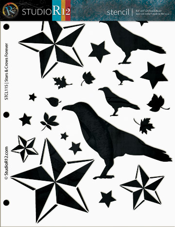 "Harvest Stencil - Stars and Crows Forever - 8 1/2"" x 11"""