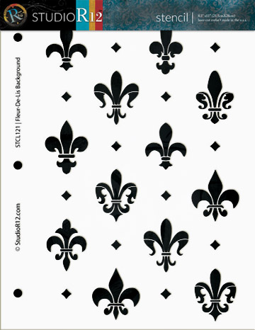 """Fleur de Lis Background Stencil - 8 1/2"""" x 11"""""""