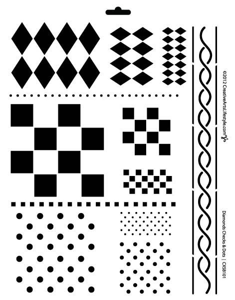 "Jumbo 12-in-one Diamonds-Checks-Dots Stencil - 11"" x 14"""