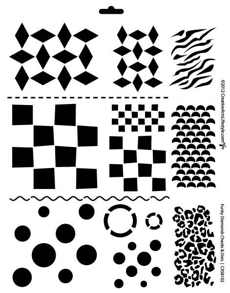 "Jumbo 13-in-one Funky Diamonds-Checks-Dots Stencil - 11"" x 14"""