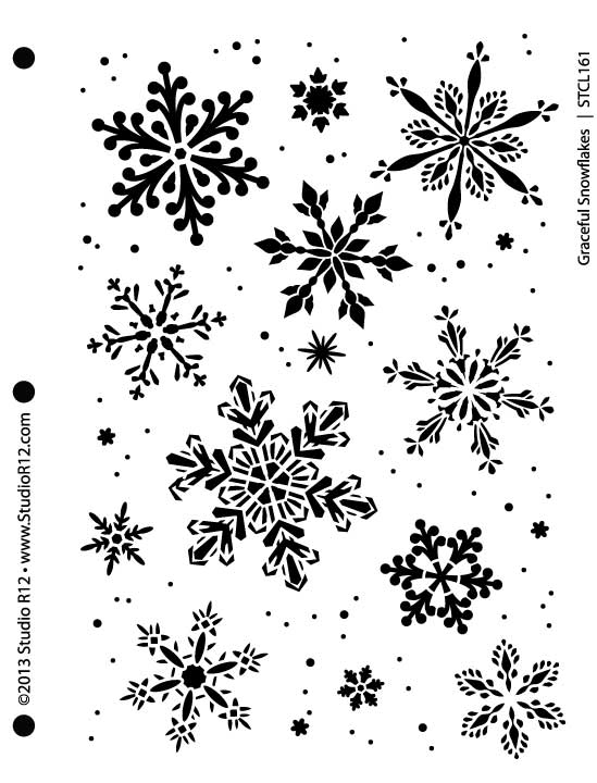 "Graceful Snowflakes Stencil - 7 5/8"" x 10"""