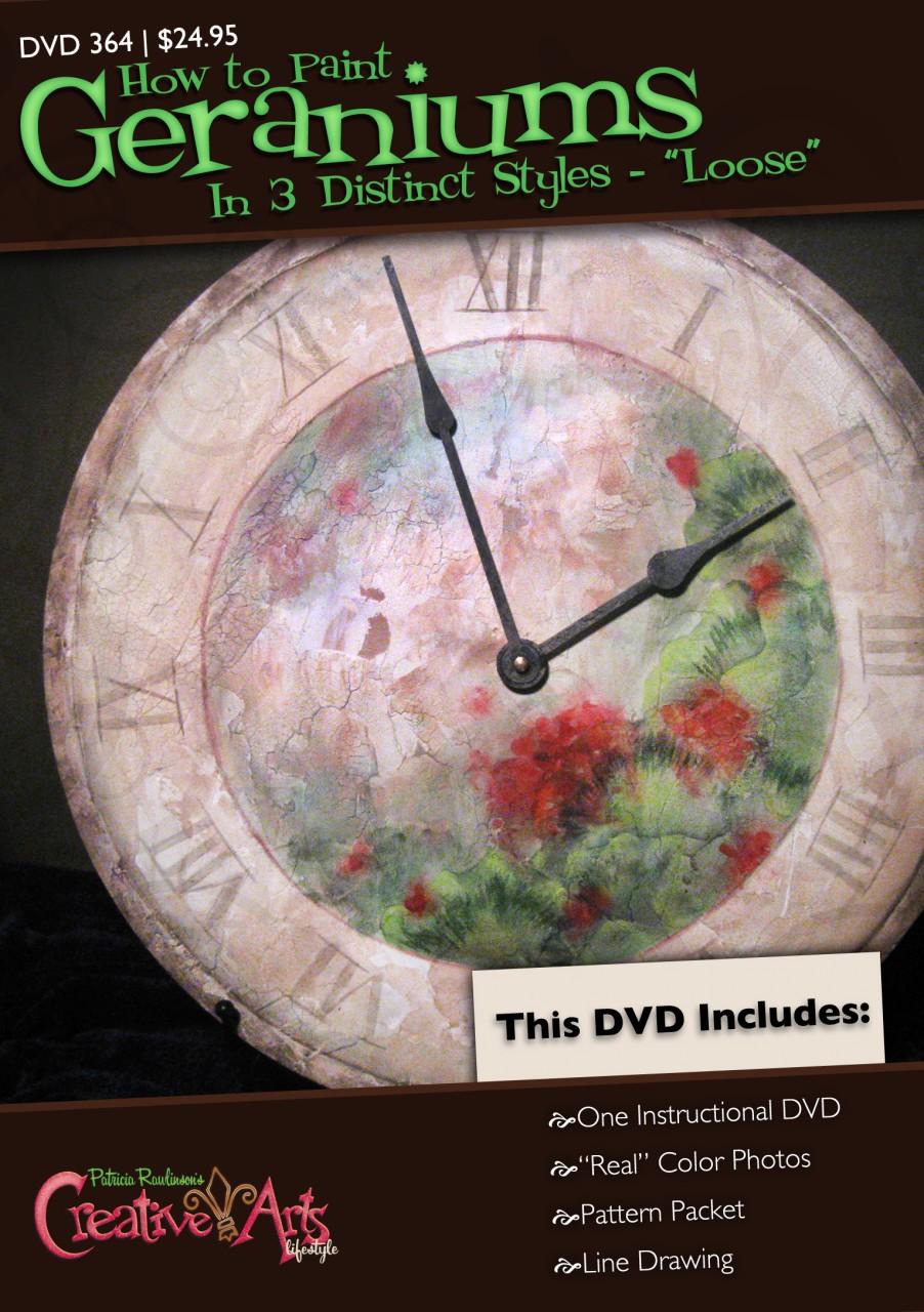 Tuscan Geranium Clock DVD & Pattern Packet - Patricia Rawlinson