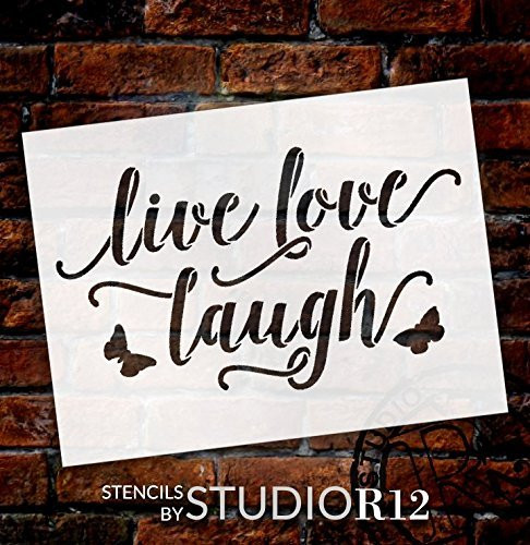 Live Love Laugh With Butterflies Stencil By Studior12 Reusable Mylar Template Use To Paint Wood Signs Wall Art Pallets Pillows Diy Home Decor Creative Arts Lifestyle