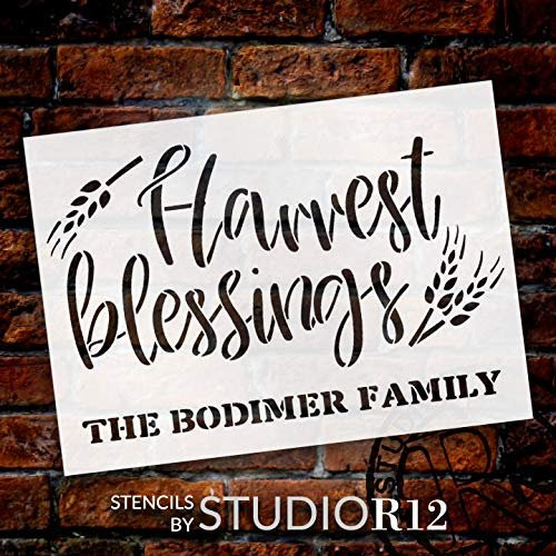 Personalized Harvest Blessings Stencil With Wheat Custom Cursive Family Name Diy Fall Farmhouse Home Decor Rustic Autumn Grain Craft Paint