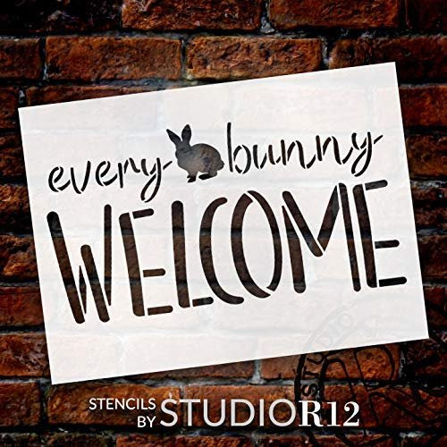 Every Bunny Welcome Stencil By Studior12 Diy Fun Cursive Spring Home Decor Easter Script Word Art Craft Paint Farmhouse Wood Sign Reusable Mylar Template Select Size Creative Arts Lifestyle
