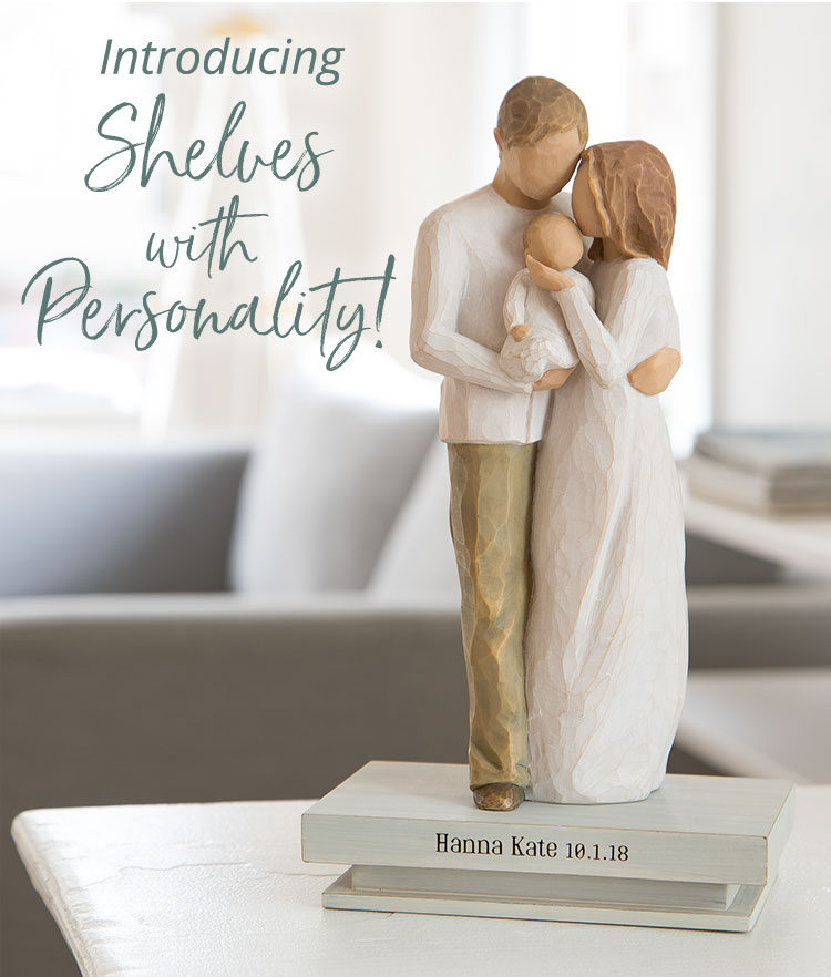 Introducing Shelves with Personality! Hand-carved figurine of a mom, dad and baby on a shelf with the words engraved Hanna Kate 10.1.18.