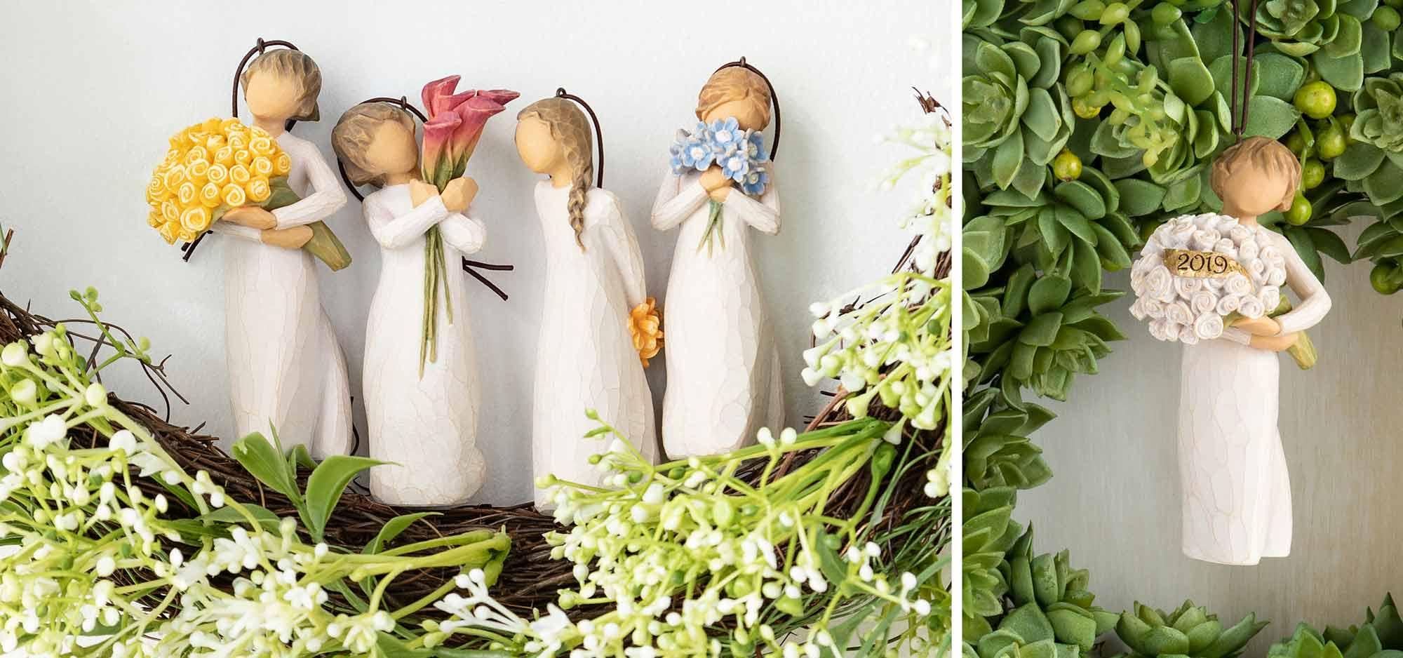 5 flower ornaments on green succulent wreaths