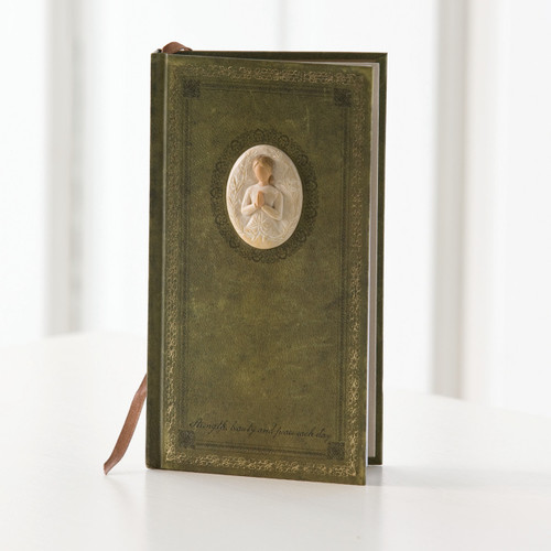 Standing brown wooden book with carved in image of faceless girl praying pendant