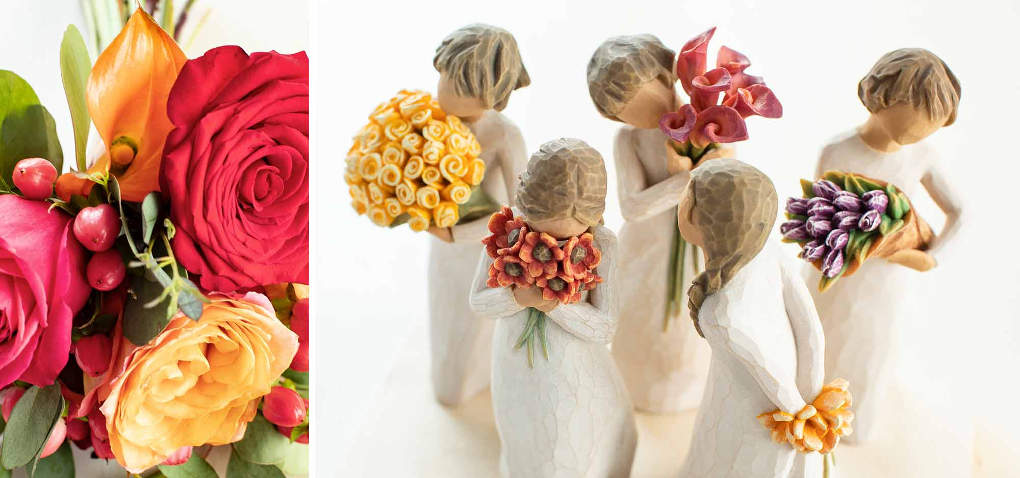 Bouquet of bright red and orange flowers. Five hand carved figurines holding bouquets of flowers.