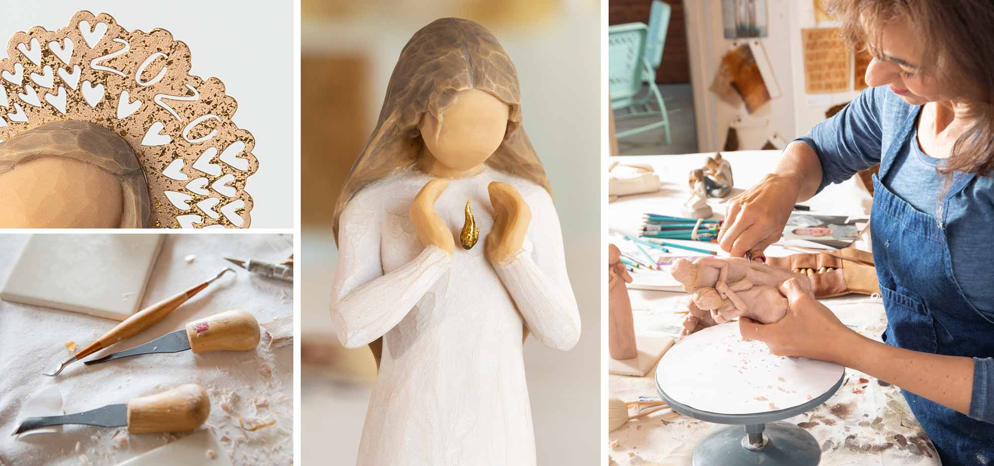 Images of artist carving figurines in a studio. Detail of gold 2020 crown and woman holding a gold flame.