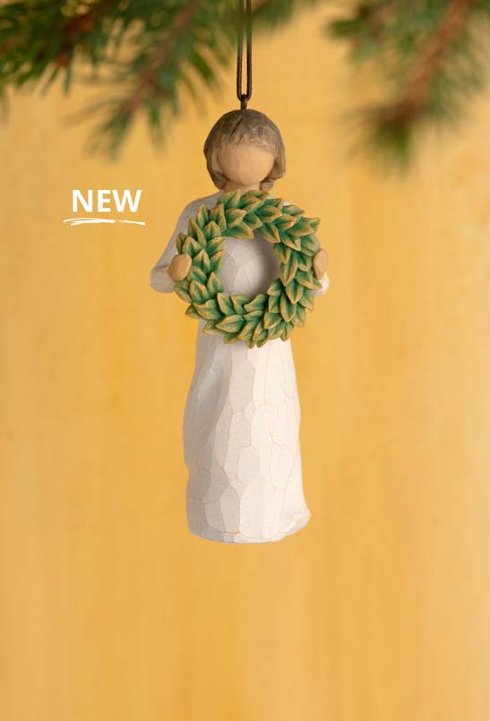 New! Ornament of girl holding a green wreath