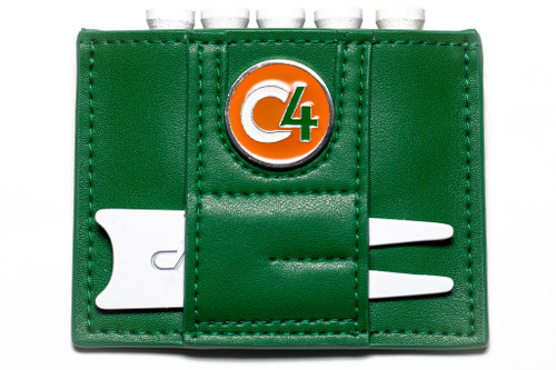 Reverse view of Irish Flag Ball Marker and Accessory Wallet showing white divot repair tool and orange, white, and green ball marker