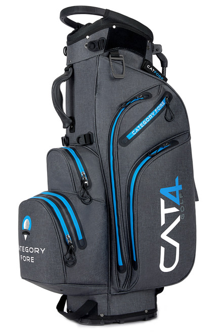 Right side view of gray and blue Category Fore Torrent 14 Hybrid Waterproof Golf Bag showing apparel pocket, side pocket, towel carabiner, and valuables pocket