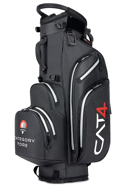 Right side view of red, white and blue Category Fore Torrent 14 Hybrid Waterproof Golf Bag showing apparel pocket, side pocket, towel carabiner, and valuables pocket
