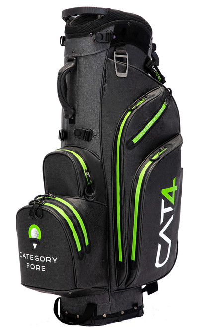 Right side view of carbon and vivid green Category Fore Torrent 14 Hybrid Waterproof Golf Bag showing apparel pocket, side pocket, towel carabiner, and valuables pocket