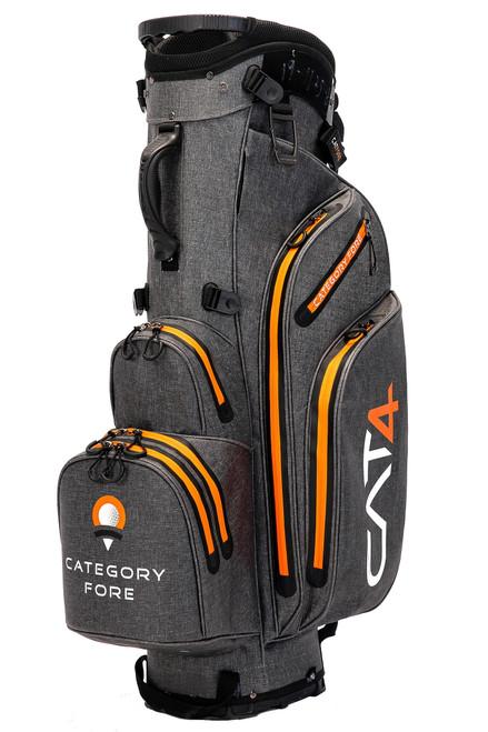 Right side view of grey and orange Category Fore Torrent 14 Hybrid Waterproof Golf Bag showing apparel pocket, side pocket, towel carabiner, and valuables pocket