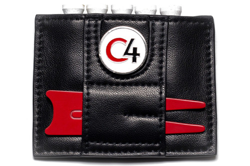 Reverse view of Black Ball Marker and Accessory Wallet showing red divot repair tool and white, red and black ball marker