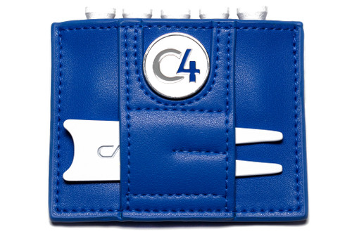 Reverse view of Scotland Flag Ball Marker and Accessory Wallet showing white divot repair tool and white, gray, and light blue ball marker