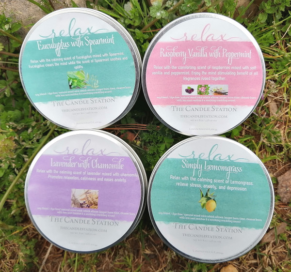 Relax Bundle Set x 4 includes: Lavender w/ chamomile, Black Raspberry Vanilla w/Peppermint, Eucalyptus w/ Spearmint and Simply Lemongrass