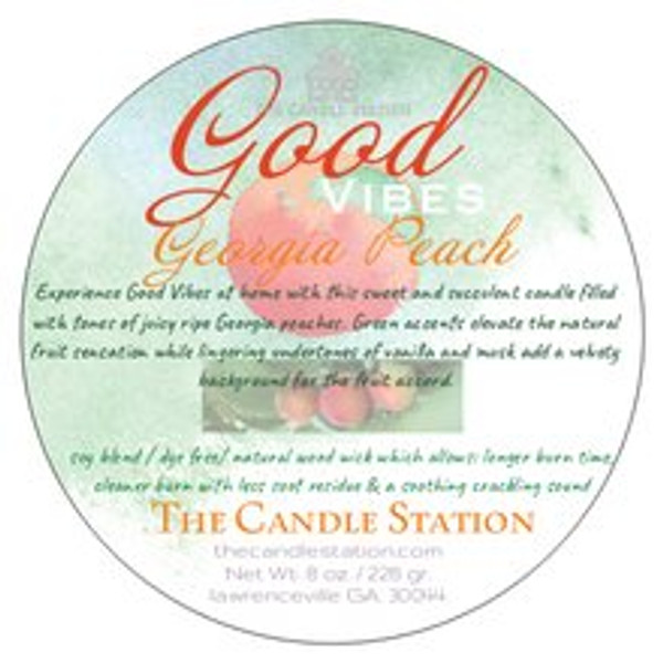 Experience Good Vibes at home with this sweet and succulent candle filled with tones of juicy ripe Georgia peaches. Green accents elevate the natural fruit sensation while lingering undertones of vanilla and musk add a velvety background for the fruit accord.