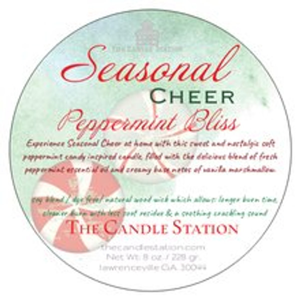 Experience Seasonal Cheer at home with this sweet and nostalgic soft peppermint candy inspired candle, filled with the delicious blend of fresh peppermint essential oil and creamy base notes of vanilla marshmallow.