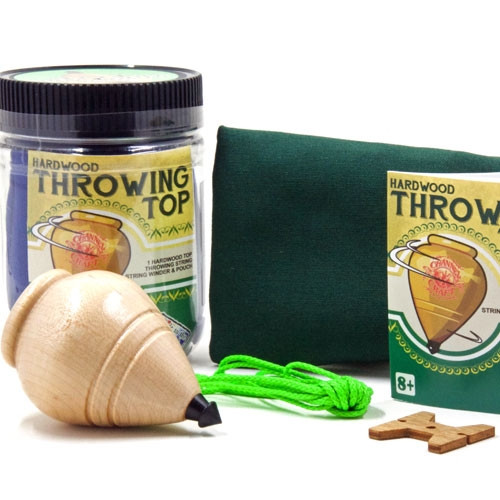 Hardwood Throwing Top Toy Jar with Canvas Pouch