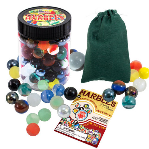 Marbles Game with Canvas Pouch