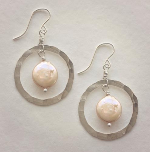 Coin Pearl Hoop Earrings