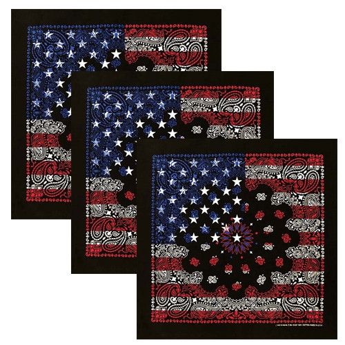 Black USA Flag Bandana - 3-Pack