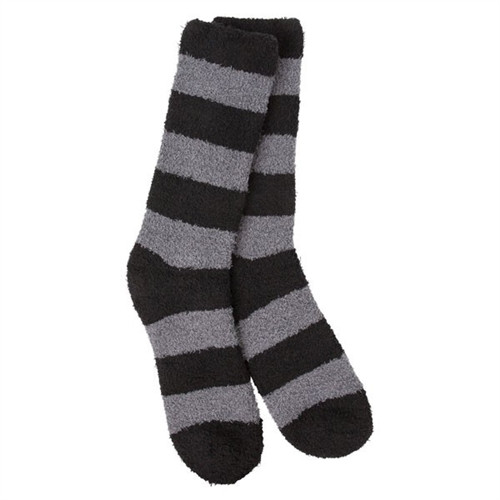 Sleeper Socks Striped Gray and Black Crew