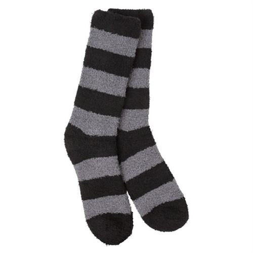 Sleeper Socks Striped Gray and Black Crew