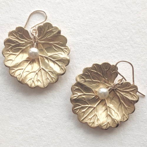 Water Lily with Pearl Earrings