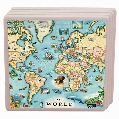 Ceramic Coasters - World Map, Set of 4